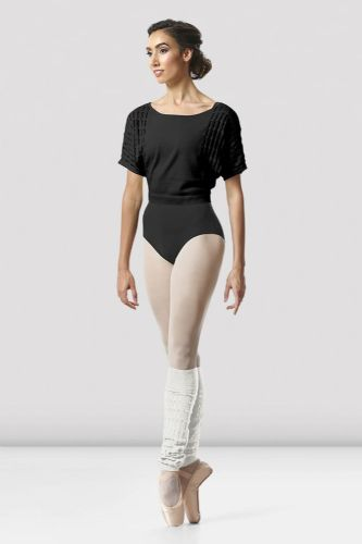 BLOCH Ladies Dance Cotton Textured Knit Crop Sweater Warm Up Z5522 Tatiana Black